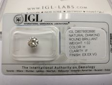 1.02 ct ronde cut diamond H als