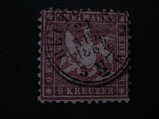 Württemberg 1862 9 kreuzer, Michel number 24 with certificate