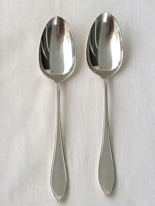 Christofle, Versailles model, silver plated metal 2 x Serving spoons