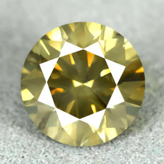 Diamond - 1.74 ct - Natural Fancy Intense Greenish Yellow - very low Reserve Price