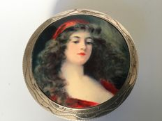 Art Nouveau silver powder compact with exquisite enamel on copper portrait of gipsy girl