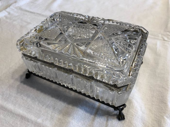 Jewellery box in Crystal and Silver 800, Fratelli Bicchielli Silverware Florence (Italy), 1950s