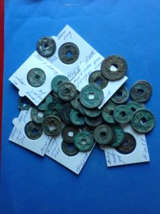 China - Lot of over 50 AE coins from many dynasties, including Western Han, - Song, Tang & Wang Mang, and others. (40+ pieces)