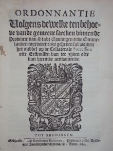 Groningen; Lot with 2 publications printed by (the widow of) the brothers Huysman - 1668 / 1680