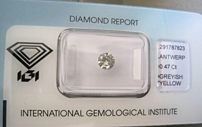 Natural Diamond Round Brilliant 0.47 Carat  GREYISH-YELLOW SI2 IGI-Seal