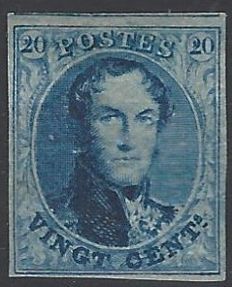 """Belgium 1851 - OBP no. 7 - Cu - King Leopold I type 'Medallions with watermark """"LL"""" without frame' 20c blue with 4 edges and neighbour on top - stamp 132 of plate IV - with certificate by Pierre Kaiser 18/09/17"""