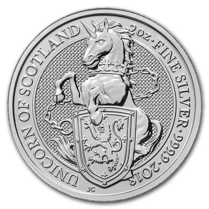 Great Britain – 5 Pounds 2018 'Queen's Beasts – Unicorn of Scotland' –  2 oz silver