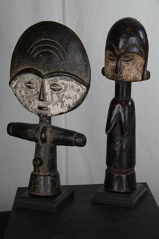 Beautiful lot of 2 Akuaba fertility figurines – ASHANTI - Ghana
