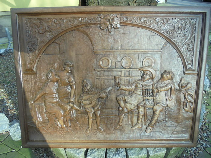Very old wood carving restaurant scene germany early