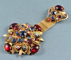 Very rare - Large signed Sphinx Medal Brooch number design 9240, Ruby, Emerald, Sapphire crystals