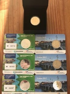 The Netherlands - 2 Euro 2017, St. Servaas bridge + 3 coin cards with 2 Euro St. Servaas bridge + 3 coin cards with 5 Euro Amsterdam 2017, silver plated.