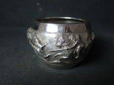 Antique silver hand-driven bowl - India - early 20th century