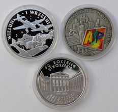 Poland - 3 x 10 Zlotych 2009, September 1939, 2004, art school, 2009, Supreme Audit Office - silver