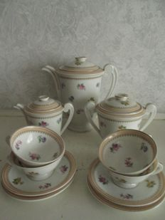 Charles Ahrenfeldt - Limoges - set of Art Deco tableware, teapot, milk & sugar, cups and saucers