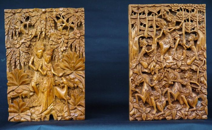 Wood carving panels rama and shinta bali indonesia 2 pieces
