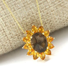 14kt Yellow Gold 4.75 ct Smoky Topaz, 2.00 ct Citrine Pendant Necklace - 45 cm