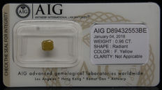 0.96ct. Certified Natural Fancy Yellow Diamond  - NO RESERVE