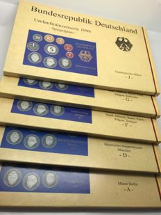 Federal Republic of Germany – DM course coin set 1999 A + D + F + G + J Mint state in plastic boxes