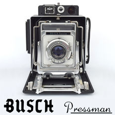 "BUSCH PRESSMAN type D 4"" X 5"" plate camera with Eastman Kodak Flash Supermatic shutter and a ""top mounted"" Vue Focus rangefinder"