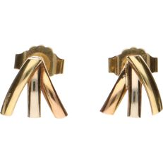 14 kt Tricolour yellow/white/rose gold earrings - Length: 8.11 mm