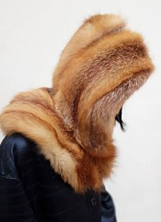 Red fox fur hood/hat (Made in Italy) * NO MINIMUM PRICE *