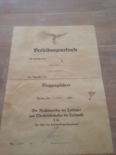 Flugzugfuhrer Award Document