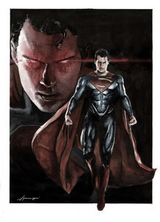 Superman by Daniel Azconegui - Original Watercolor Painting