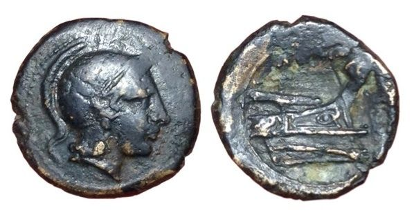 Roman Republic - 'Semilibral Prow series' c. 217-215 BC - Æ Quartuncia (17/16mm, 3.55gm), mint of Rome - Head of Romav/ Prow - Cr. 38/8; Syd. 88