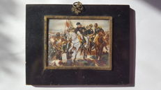 French school - Napoleon on the battlefield of Prussian-Eylau (1807) - miniature painting on whalebone - second half of the 19th century