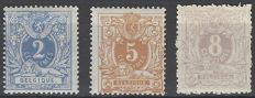 "Belgium 1869 - ""Reclining lion with coat of arms"", 2 c blue, 5 c ochre-red and 8c violet - perforation 15 - OBP 27 to 29"