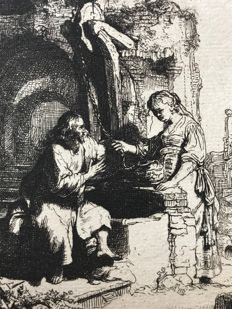 Rembrandt van Rijn (1606-1669) (after). Christ and the woman of Samaria, 1634. Engraved c. 1880 by Amand Durand (?)