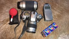 Nikon F75 with 2 lenses, light meter and flash in bag