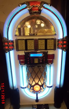 XXL Jukebox Wurlitzer retro brand Hollywood 10 neon blue, 10-changer via remote control