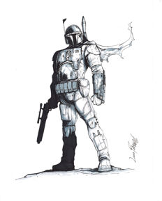 Livio Ramondelli - Original Drawing - Star Wars - Bobba Fett