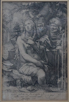 "Jan Saenredam ( 1565-1607)After H. Goltzius ""Susanna and the Elders"" Circa 1595"