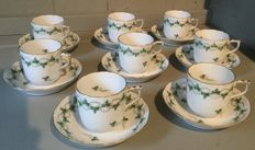 Herend porcelain set of 8 mocha/espresso cups with saucers, parsley ornamentation