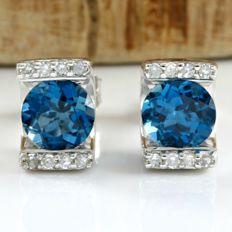 14k White Gold Stud Earrings Set with 1.75 ct Blue Topaz, 0.062 ct Diamond - *no reserve*