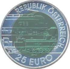 Austria - 25 euros 2004 'Train alpin' - silver
