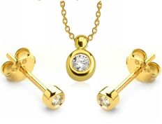 Pendant, Necklace and Earring Set. 0,11 ct Diamond. 14K Yellow Gold