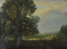 English school (19th century) - Wooded landscape with cattle