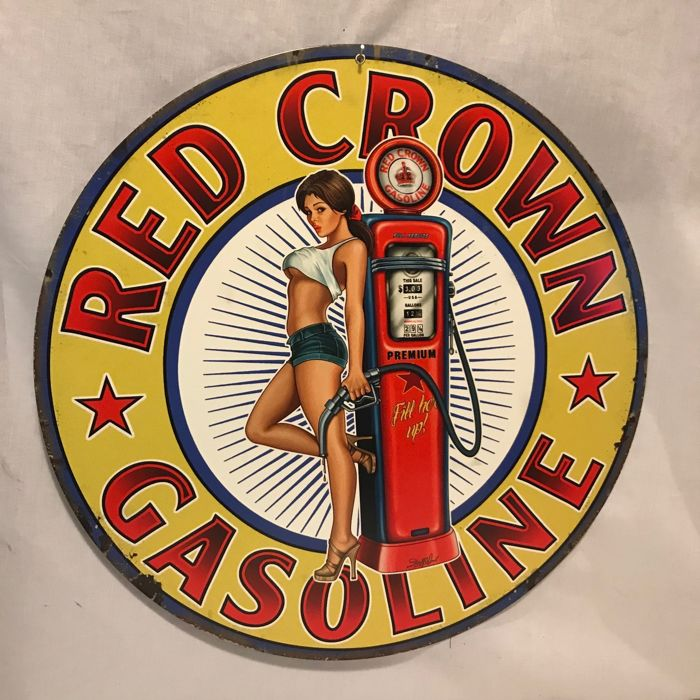 Wall sign; Steve McDonald Artist-Red Crown Gasoline Pin Up ...