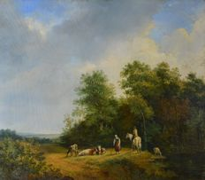 Continental school (19th century) - Landscape with figures and cattle.