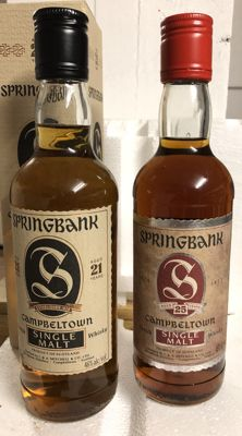 2 bottles - Springbank 21 years old - 25 years old - 2x 375ml