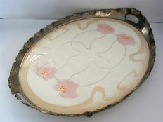 Art Nouveau porcelain tray with nickel frame