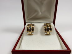 Pair of modern square earrings in 2-tone gold – 18 kt – No reserve price