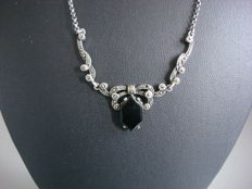 Silver Jugendstil 'Lavaliere' set with an onyx stone and marcasites
