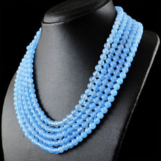Blue Chalcedony necklace with 18 kt (750/1000) gold, length 50cm