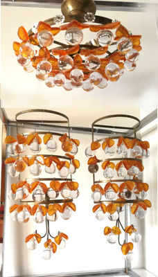 Unknown designer - Glass and amber lamp and sconces