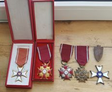 Polish Medals and Decorations - Order of Polonia Restituta 1918, Polonia Restituta 1944, 3 Crosses of Merit, Grunwald Badge