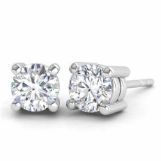 18 kt white gold earrings with 0.66 ct of brilliant cut F - G (fine white)/VS diamonds